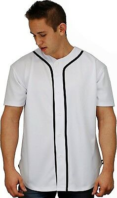 (Large, White) - Baseball Jersey T-Shirts Plain Button Down Sports Tee. YoungLA