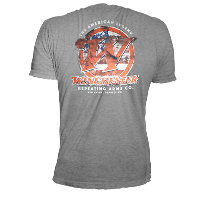 Winchester Classic W Logo with American Flag Vintage Style Men's Graphic T-Shirt