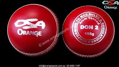 1 x DON 2PC RED ALUM TANNED Cricket Balls by ORANGE SPORTS + AU STOCK
