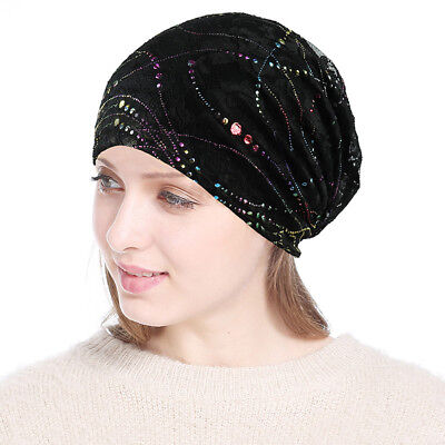 ddb64992a5c Black Sleep Chemo Cap for Women Beanie Lace Turban Soft Slouchy Hat Cancer  Hats