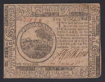 """CC-43  """"Major Anthony Morris"""" PCGS VF25 $6.00 July 22, 1776 Continental Currency"""