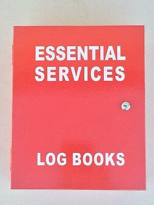 Essential Services Cabinet Wall Mounted Documents Box Log Book Red Metal 003 Key
