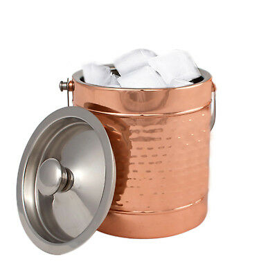 Copper Stainless Steel Double wall Ice Bucket  Lid