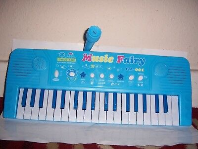 Musical Keyboard With 37 Keys And Microphone Battery Operated Toy Blue