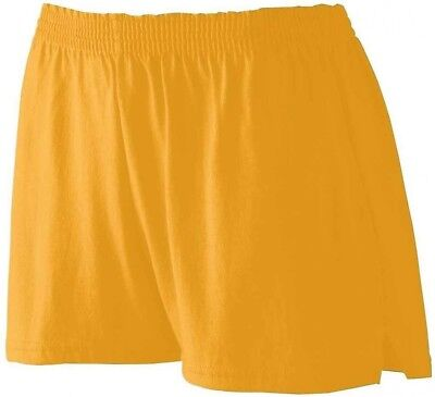 (Large, Gold) - Augusta womens Girls' Trim Fit Jersey Short (988). Free Shipping