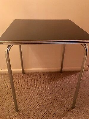 Rare / Art Deco Chrome & Bakelite Card Table by Gilbert Rohde for Troy, 1930's