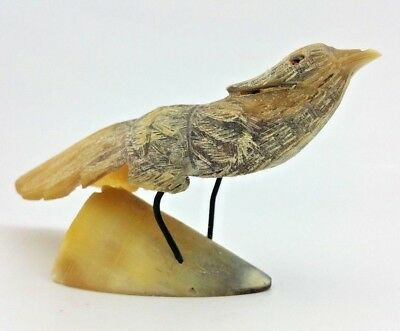 Detailed Bird Hand Carved Cow Horn Vtg