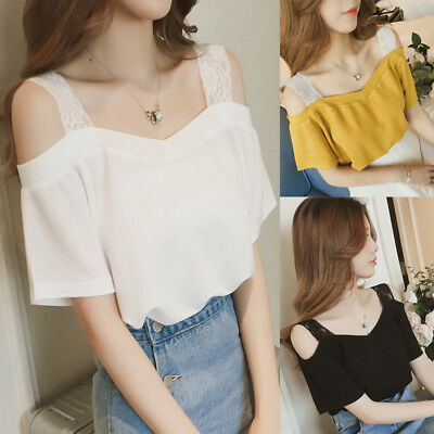 Women Korean Lace Strap Off Shoulder Slim Casual Short Sleeve Tops Blouse Shirt