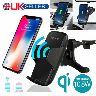 Qi Wireless Fast Charger Car Dashboard Windscreen Air Vent Holder Mount Cradle