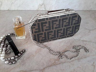 Crystal Evening Box Clutch Purse FENDI monogram canvas upcycle HANDMADE