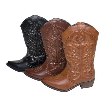 AU FREE SHIP Womens Ladies Western Cowboy Cowgirl Boots Wedding Shoes Size 5-11