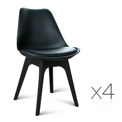 Set of 4 DSW PU Leather Chairs Cafe Dining Thick Padded Retro Style Seat Black