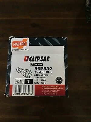 Clipsal Plug 56P532 5 Pin 32 Amp 500V 3 Phase For Welder shed