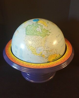 "George F. Cram Co.,  World Globe LARGE  22""D Art Deco style stand 16"" Globe"