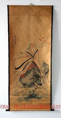 Old Collection Scroll Chinese Painting / Lao Tzu Riding Bulls  ZH1011