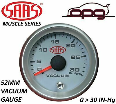 "SAAS VACUUM 52MM 2""  0 > 30 IN Hg ANALOG GAUGE WHITE FACE SILVER RIM 4 COLOUR"
