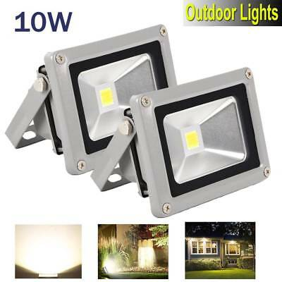 2Pcs 10W LED Flood Light Outdoor Waterproof Garden Security Lamp Warm White