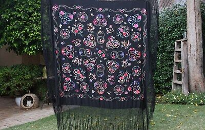 Handmade Vintage Silk Butterfly Flower Embroidered Black Piano Flamenco Shawl
