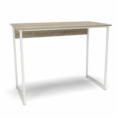 Computer Desk with Metal Leg, White & Natural