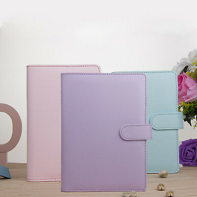 A5 Leather Loose-Leaf-Ring-Binder-Notebooks Macaron Colour Agenda Planner Diary