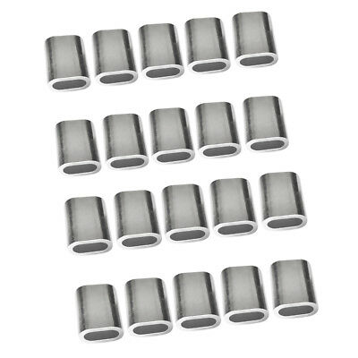 20 Pcs 3mm & 4mm Wire Rope Aluminum Sleeves Clip Fittings Cable Crimps