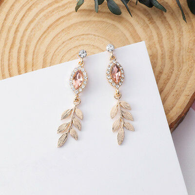 2018 Shiny Crystal Rhinestone Leaf Long Drop Dangle Earrings New Design Fashion