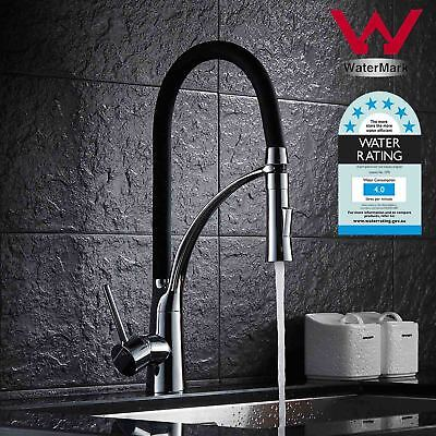 WELS Black Swivel Kitchen Mixer Tap Pull Out Sprayer Laundry Sink Basin Faucet