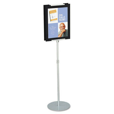 "Adjustable Sign Stand, Metal, Stands 44"" - 73"" High, Silver"