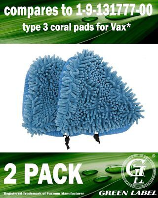 2 Pack Coral Cleaning Pads for Vax Steam Mops compares to Type 3, 1-1-131643-00.