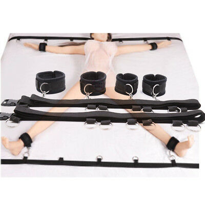 Sexy Under Bed Restraint System Black Nylon Hand Ankle Cuff Restraints Adult Toy