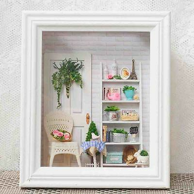 AU Wood Handmade Doll House Miniature LED Dollhouse Furniture Frame Toy Gift DIY