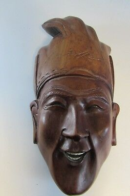 antique Vintage Wood Chinese Asian Oriental Face Mask Wall Decor
