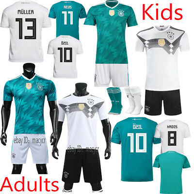 New 2018 Kids Adults Football Team Suit White Green Home Away Kit Soccer Jersey