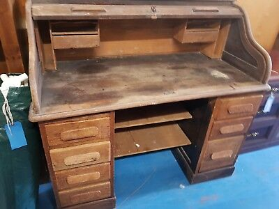 Antique Old Solid Wood Large Desk Needs Restoring
