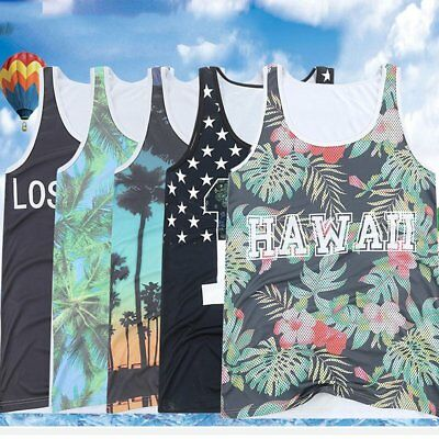 Men Summer Fashion Casual Beach Vest Printing Big Size Loose Sleeveless Shirt CV