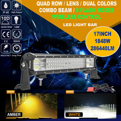 17inch 1848W CREE LED Light Bar Work COMBO Beam QUAD ROWS Truck ATV SUV 4WD Car