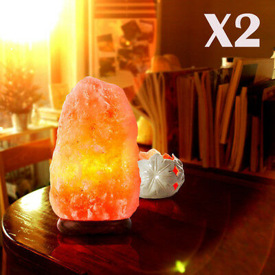 2-Pack Himalayan Natural Air Purifier Salt Lamp Rock Tower 4-6lbs with Wood Base