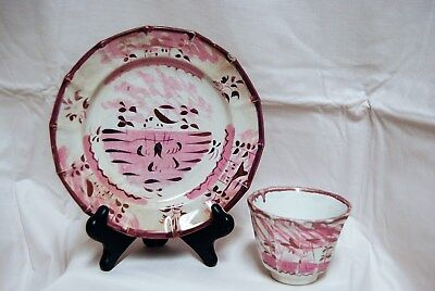 19th c Copper Lustre Pink Luster Lustreware Tea Plate and Cup Sunderland House