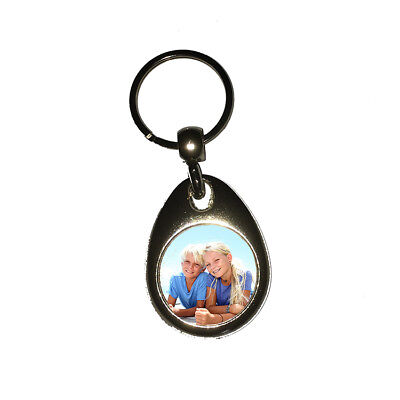 Personalised Photo Round Metal Double Sided Keyring
