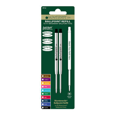 Monteverde Ballpoint Refill to Fit Waterman Assorted Color NOS 12 pcs W132 Mint