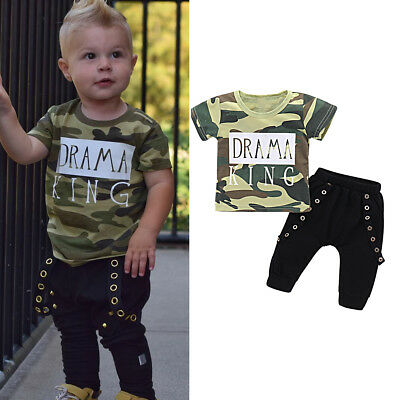 2pcs Toddler Kids Baby Boys Summer Clothes Camo T-shirt Tops + Pants Outfits Set