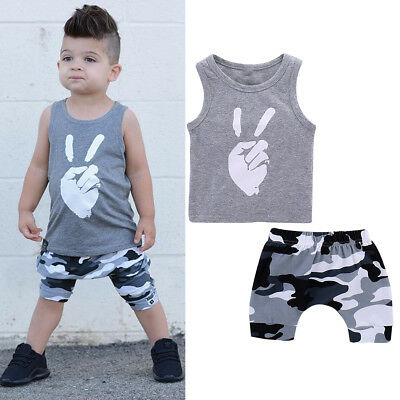 2pcs Toddler Kids Baby Boys Summer Clothes T-shirt Tops+Pants Shorts Outfits Set
