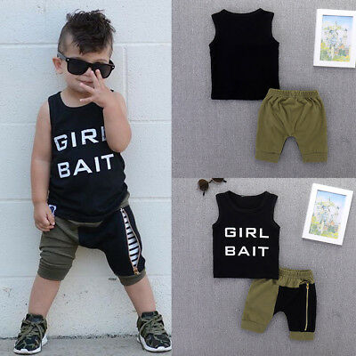 2pcs Toddler Kids Baby Boy Summer Clothes Vest Tops+Zip Pants Shorts Outfits Set