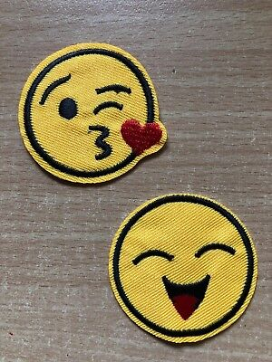 2 Embroidered Iron-On Patches Appliques, Emoji Faces, #EF2