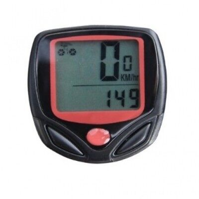 Wired Bike Bicycle Computer LCD Odometer Speedometer with 14 Function - Black