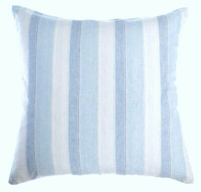 Luxury Linen Damask Blue White Striped Euro Shams 26x26 Square Pillow Cover