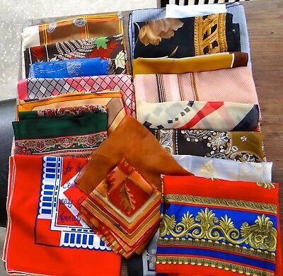 LOT 18 Vintage Scarves Scarf Italy Silk Symphony Hand Rolled Japan Kennedy Ctr.