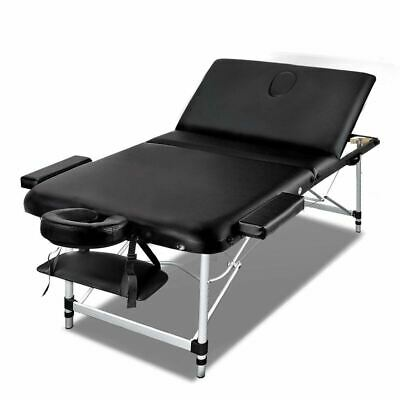 3 Fold Aluminium Massage Table Portable Therapy Waxing Beauty Chair Bed Black