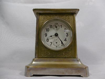 Clock Table Clock Metal Hand Wound Glass Art Deco JUNGHANS MANTEL CLOCK CHIMES