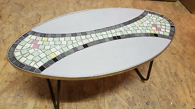 Flower Bench Stool Mosaic, Kidney-Shaped Table Mid Century Rockabilly 50er 60ER